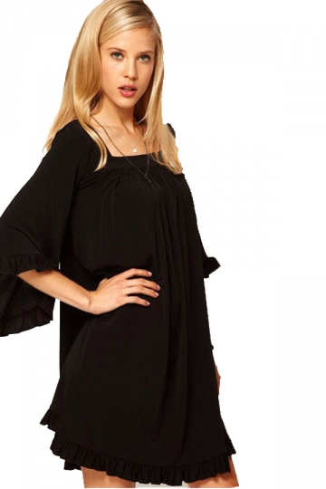 Black Sweet Winter Ladies Lotus Leaf Sleeve Baby-doll Dress