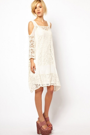 White Womens Chiffon Half Sleeve Lace Trendy Cocktail Dress