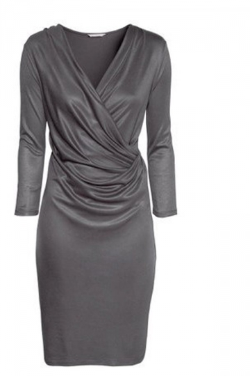 Gray Modest Three Quarter Sleeve Cowl V Neck Womens Midi Dress