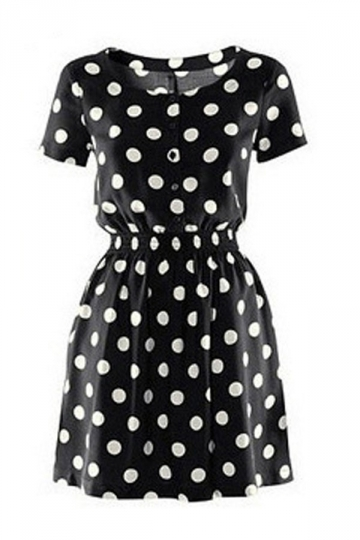 O Neck Short Sleeve Polka Dots Skater Dress