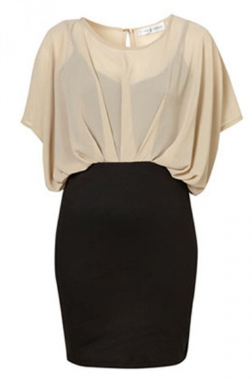 Beige Chiffon Ladies Bodycon Dress