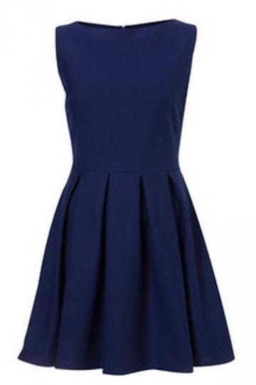 Plus Size Blue Sleeveless Ladies Tunic Skater Dress
