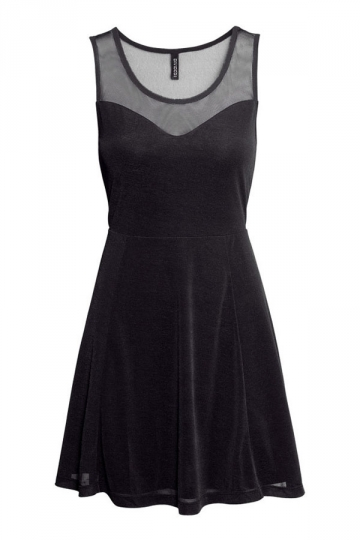 Sleeveless Elegant Ladies Mesh Contrast Skater Dress