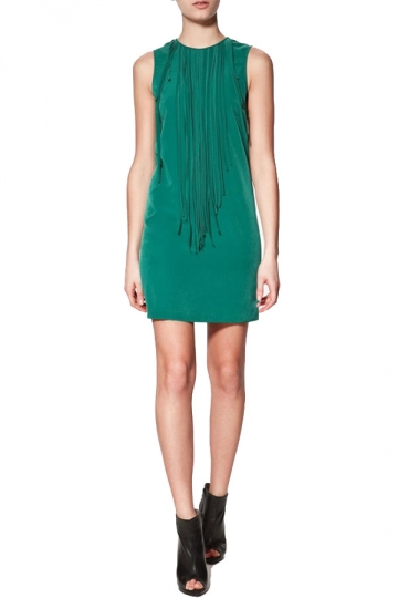 Green Sleeveless Tassels Tank Dress