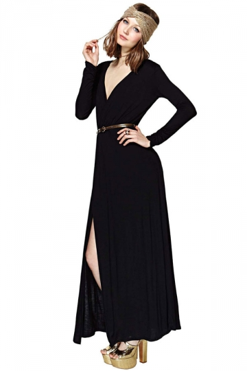 Plus Size Black V Low-Cut Long Sleeve Ladies Maxi Dress
