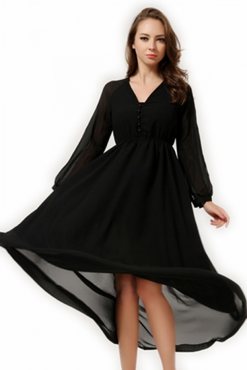 Black V Neck Long Sleeves Womens Chiffon Long Maxi Dress