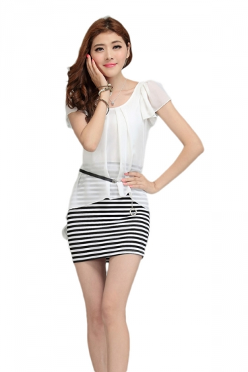 White Chiffon Ladies False Two Pieces Summer Bodycon Dress