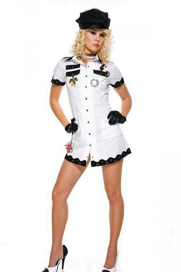 sexy white army short sleeve halloween women cop costume - Halloween Army Costume