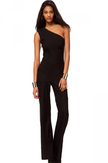 Black Elegant One Shoulder One Piece Evening Jumpsuit Long Sleeve Tops