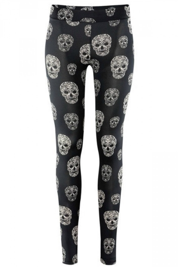Black Crazy Womens Shaping Skeleton Leggings