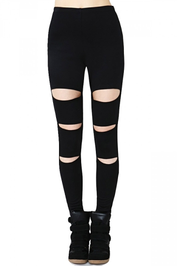 Black All-match Trendy Ladies Ripped Leggings