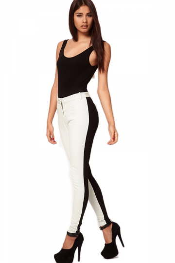 Plus Size White High Waisted Black And White Leggings