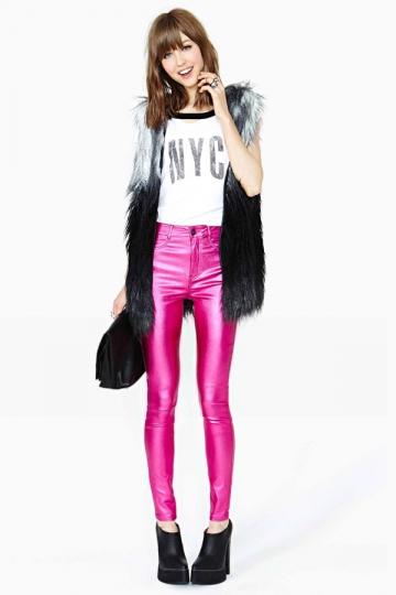 Size Purple Shiny Classic Metallic Leggings