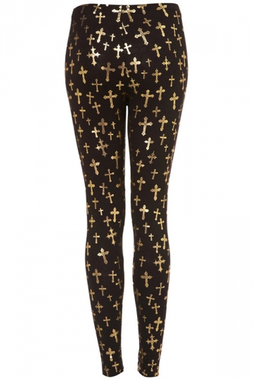 Black High Waisted Cross Leggings