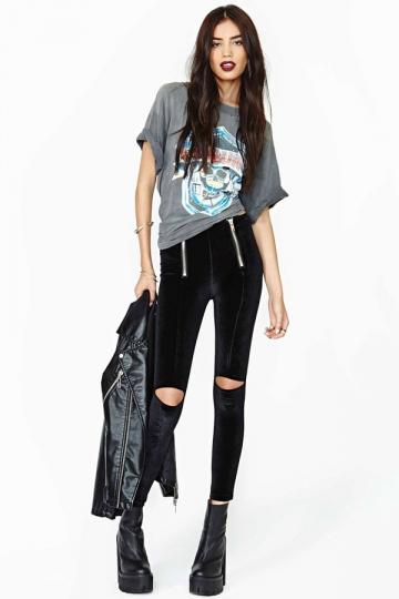 Plus Size Black Velvet Ripped Designer Leggings