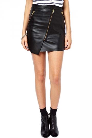 Zipper LayeLeather Skirt