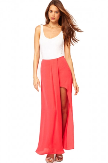 Long Chiffon Side Slit Maxi Skirt