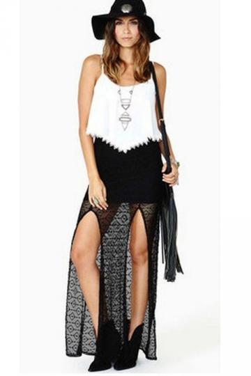 Lace M Slit Maxi Skirt