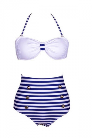Blue Ladies Sexy Bikini Top & Striped High Waisted Swimsuit Bottom