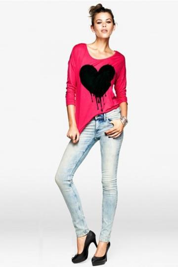 Cherry Red Ladies Three Quarter Sleeve Round Neck Heart Print Top