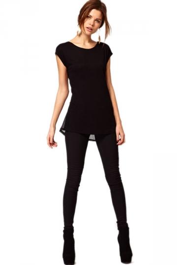 Black Short Sleeve Mesh Tunic Tee Top