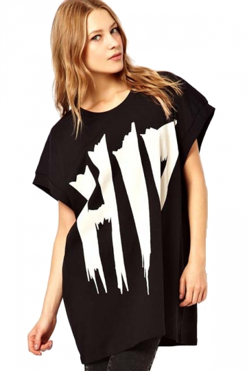 Batwing Sleeved Blouse Graffiti Printing T-shirt
