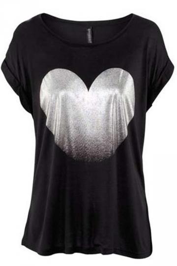 Plus Size Black Round Collar Symmetric Heart Printing T-shirt