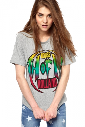 Gray House of Holland Graphic Short Sleeve T-shirt Top