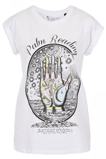 Palm Reading Printed Round Neck Womens Vintage Style T-shirts