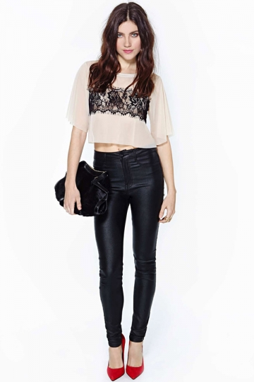 Floral Lace Short Sleeve Sheer Top