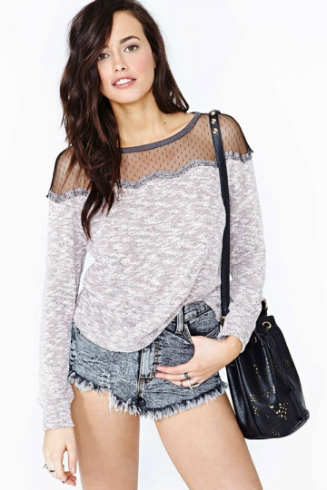 Mesh see through shoulder long sleeve t shirt top for Mesh long sleeve t shirt