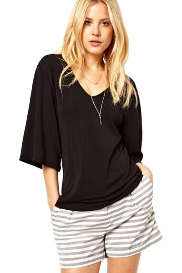 Black Solid Color Slim V Neck Loose Half Sleeves T-shirts