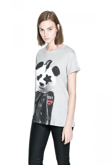 Gray Cute Panda Printed Womens Funny T Shirts