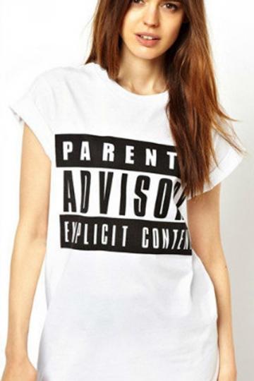 Round Collar Letter Graffiti T-shirt