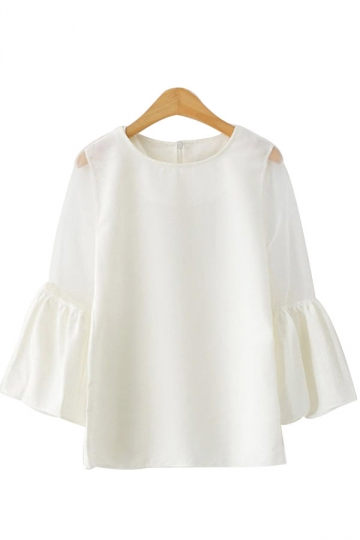 Cute Ladies Flare Sleeves Organza T-shirt