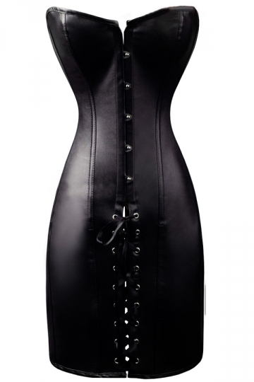 Black Sexy Strapless Womens String Vinyl Leather Dress
