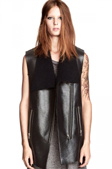 Oblique Zip Faux Fur Lapel Ladies Cool Vest