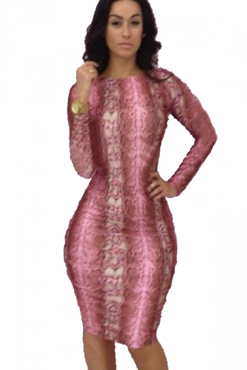 Pink Trendy Womens Bodycon Long Sleeve Backless Midi Club Dress ...