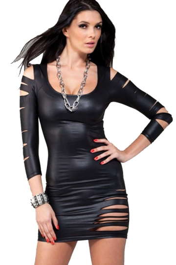 Sexy Black Cut Out Faux Leather Bodycon Dress