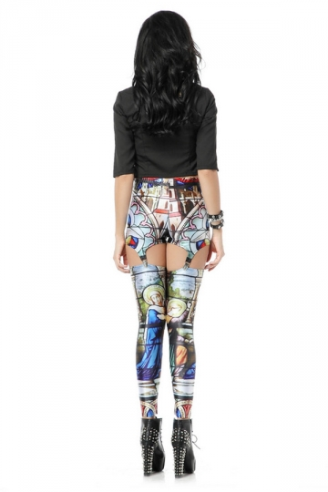 Blue Fashion Womens Church Print Suspender Leggings