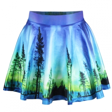 Blue Ladies Sky and Trees Printed Vintage Pleated Skirt