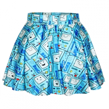 Blue Womens Cute Video Games Pleated Skirt