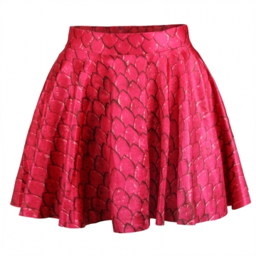 Red Ladies Vintage Mermaid Pleated Skirt