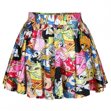 Red Cartoon Printed Womens Cute Pleated Skirt