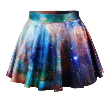 Purple Womens Sexy Galaxy Pleated Skirt