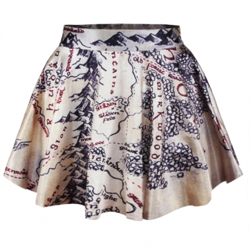 Beige Map Printed Ladies Vintage Pleated Skirt