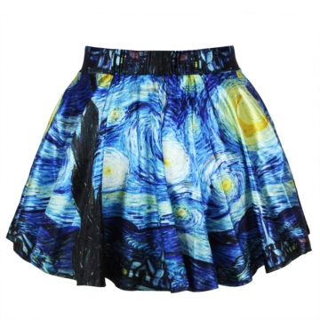 Blue Starry Night Vintage Pleated Womens Skirt