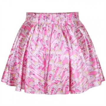 Pink Princess Printed Cute Womens Pleated Skirt