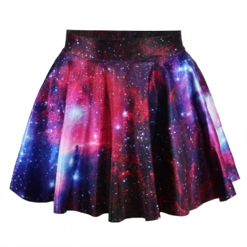 Purple Fashion Summer Womens Galaxy Pleated Skirt