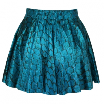 Blue Fashion Ladies Mermaid Print Pleated Skirt